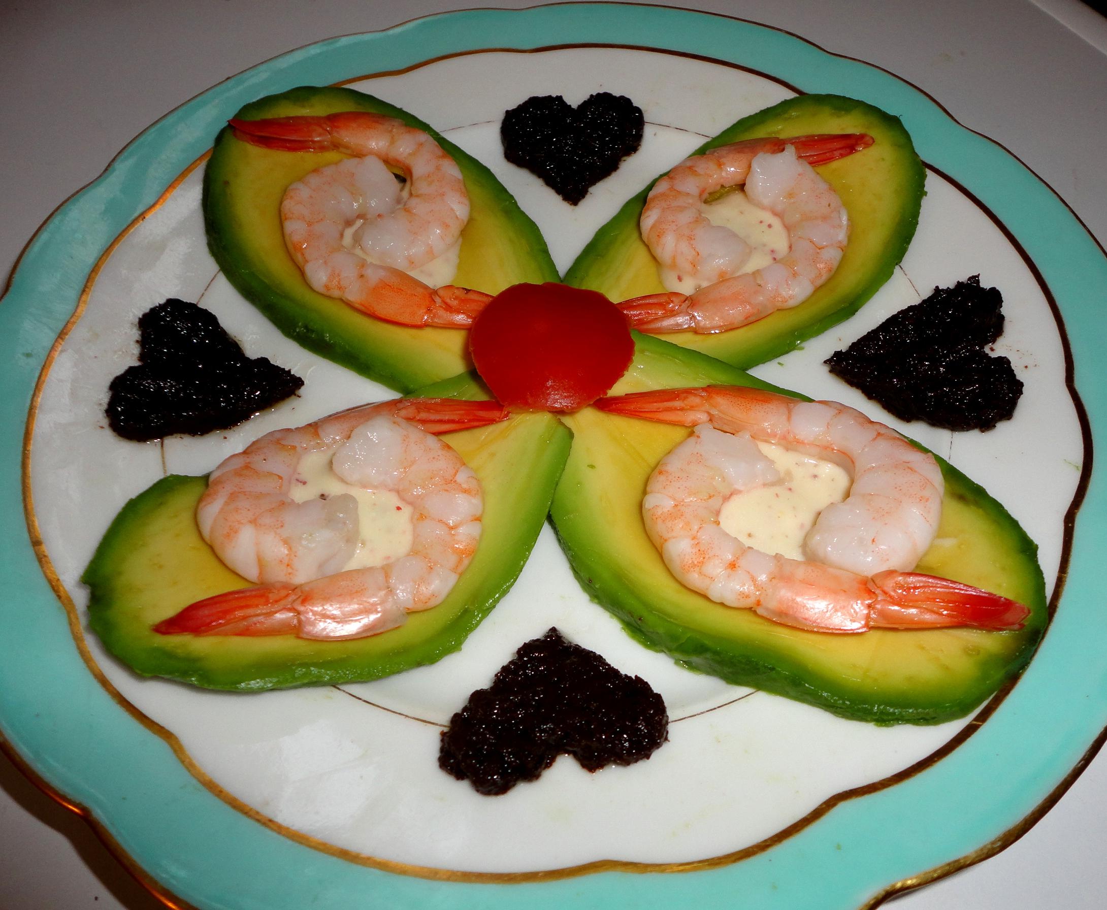 Recette Fleurs De Crevettes Sur Petales D Avocat