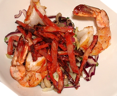 Recette gambas grill es sur salade aux chorizo et haricots mavromatika - Accompagnement gambas grillees ...
