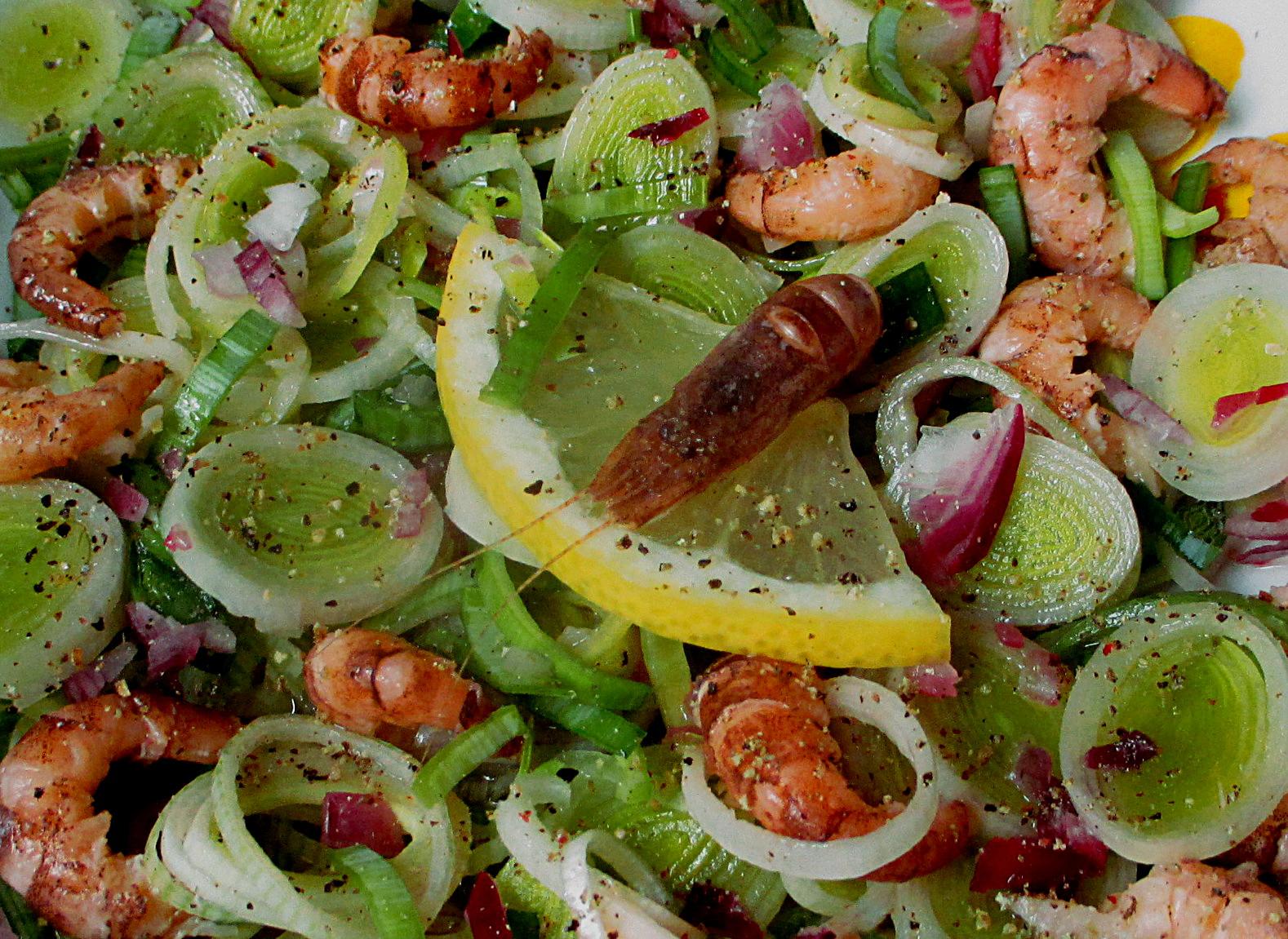 Recette - Salade de Poireau aux Crevettes grises