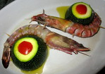Courgette ronde et Gambas